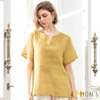 MONS品味生活修身刺繡100%苧麻上衣
