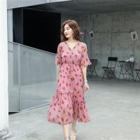 SZ-復古輕盈V領腰抽繩雪紡印花洋裝M-XL(共二色)