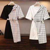 【KVOLL】青春減齡印花格子同色收腰腰帶洋裝L-4XL(共二色)