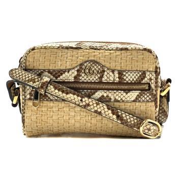【GUCCI】Ophidia系列 蛇皮飾邊編織造型拉鍊斜背包(574493-米色)