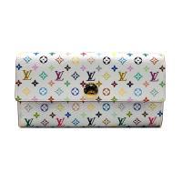 【Louis Vuitton】展示品 白彩釦式長夾(M60443-白)