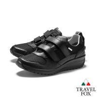 TRAVEL FOX(女) 四季歐陸系列  黏扣式網布牛皮雙料厚底GRITEX進口休閒鞋 - 好穿黑