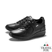 TRAVEL FOX(女) 四季歐陸系列  經典綁帶牛皮厚底GRITEX進口休閒鞋 - 綁帶黑