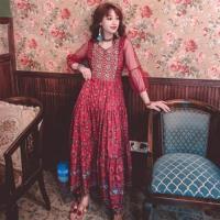 維拉森林-異國公主風復古透袖網紗拼接大裙擺洋裝S-XL(共二色)