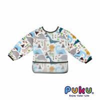 PUKU藍色企鵝 長袖立體防水圍兜衣_恐龍世界