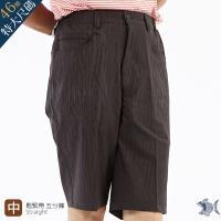 NST Jeans 特大尺碼 鋼鐵男子 光澤黑印花短褲-中腰鬆緊帶 398(25926)