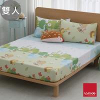 【La mode】動物好森音環保印染100%精梳棉床包枕套三件組(雙人)