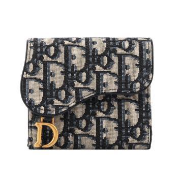 DIOR迪奧 SADDLE LOTUS三折零錢袋短夾(藍色) S5652CTZQ_M928