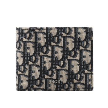 DIOR迪奧 Oblique Jacquard對開8卡短夾(米黑色) 2OBBH027YSE_H05E