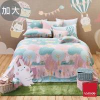 【La mode】櫻花嘉年華環保印染100%精梳棉兩用被床包組(加大)