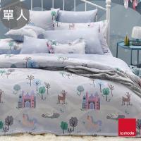 【La mode】冰雪城堡環保印染100%精梳棉磨毛兩用被床包組(單人)