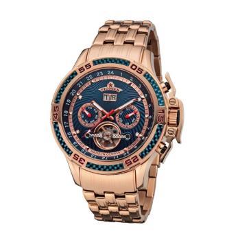 PIONIER GM-515時尚帥氣機械款男士鋼帶手錶 - 玫色 515-11