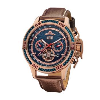 PIONIER GM-515時尚帥氣機械款男士皮帶手錶 - 咖帶玫框 515-5