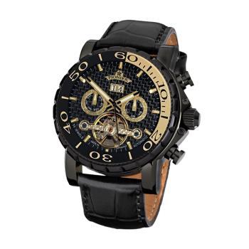 PIONIER GM-506時尚紳士機械款男士皮帶手錶 - 黑帶黑框 506-4