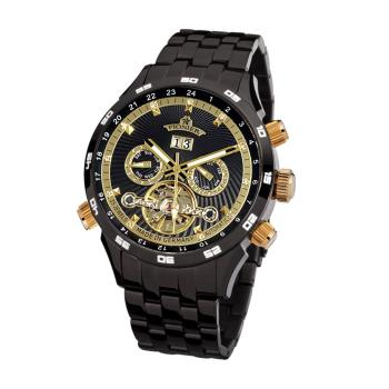 PIONIER GM-505商務型男機械款男士鋼帶手錶 - 黑色 505-6