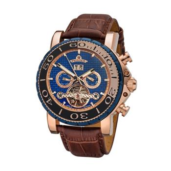 PIONIER GM-506時尚紳士機械款男士皮帶手錶 - 咖帶玫框 506-7