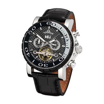 PIONIER GM-506時尚紳士機械款男士皮帶手錶 - 黑帶銀框 506-2