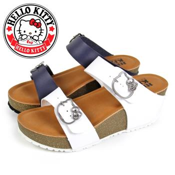 HELLO KITTY 凱蒂貓雙寬版金屬繫帶厚底楔型拖鞋N-20120