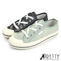 Pretty 餅乾頭渲染縫線綁帶平底休閒鞋/ 帆布鞋BA-28202