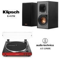 鐵三角 AT-LP60X 全自動播放黑膠唱盤 紅+Klipsch R-41PM 書架型藍芽喇叭