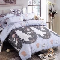 BUTTERFLY-柔絲絨卡通枕套床包三件組-北極熊(加大)