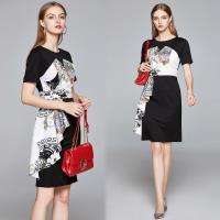 【歐風KEITH-Will 】 (預購) 歐洲站綁帶拼接印花洋裝洋裝