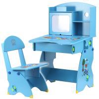 EMC 第二代防夾手木質兒童升降成長書桌椅(水藍小熊)