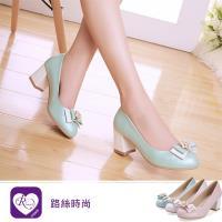【iRurus 路絲時尚】韓系粉色系珍珠雙蝴蝶結造型高跟包鞋/3色/35-42碼 (RX0504-137-2A) 零碼促銷