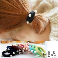 Hera 赫拉  珍珠寬版毛巾髮圈/髮束/10入組