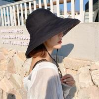 Acorn*橡果-日系雙面防曬遮陽帽漁夫帽防風沙灘帽1836(黑色)