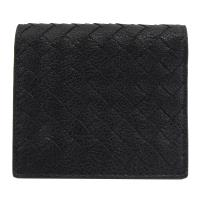 BOTTEGA VENETA 390881 編織小羊皮扣式名片夾.黑