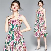 M2M-仲夏復古絢麗花葉吊帶背心連身裙S-2XL