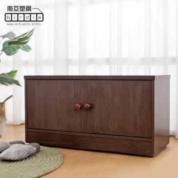 Birdie南亞塑鋼-2.8尺二門防水塑鋼坐式鞋櫃/座鞋櫃/收納穿鞋椅(胡桃色)