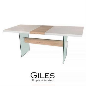 [obis] Giles 強化玻璃伸縮餐桌/工作桌(白色鋼琴烤漆)