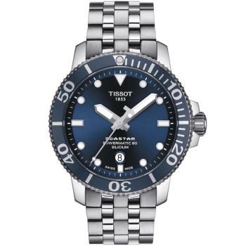 TISSOT 天梭 Seastar 1000海洋之星300米潛水錶/藍/43mm/T1204071104101