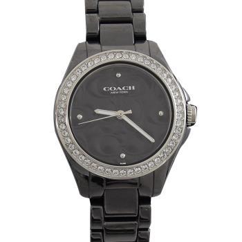 COACH 14503255 立體C LOGO印花晶鑽陶瓷腕錶.銀