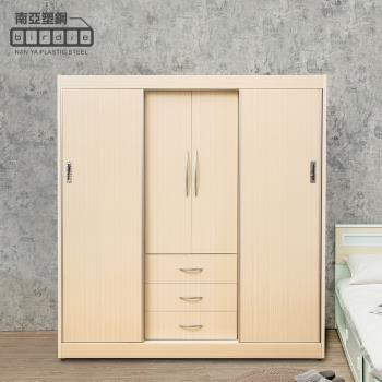 Birdie南亞塑鋼-6.2尺二開門三抽二推/拉門塑鋼衣櫃(白橡色)