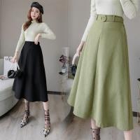 WHATDAY-復古高腰大裙擺腰帶收腰傘裙S-XL(共三色)