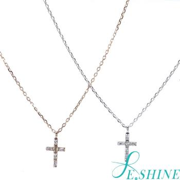 E SHINE晶鑽小十字架項鍊(銀/玫瑰金)