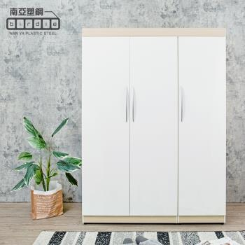 Birdie南亞塑鋼-4.5尺三開門衣櫃(白橡色+白色)