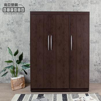 Birdie南亞塑鋼-4.5尺三開門衣櫃(胡桃色)