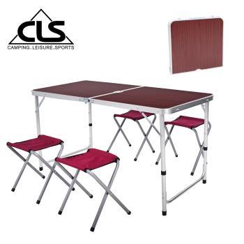韓國CLS 可調桌腳鋁合金折疊一桌四椅組/折疊箱型桌/折合桌/露營桌/鋁合金桌(兩色任選)