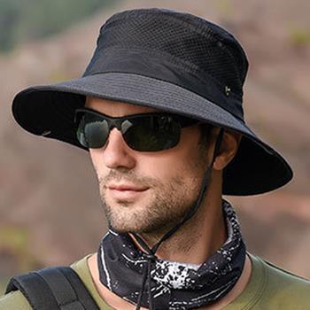 【KISSDIAMOND】加大帽檐透氣可折疊防曬抗UV遮陽帽漁夫帽(休閒/防紫外線/率性/防風繩/KDH-9045)