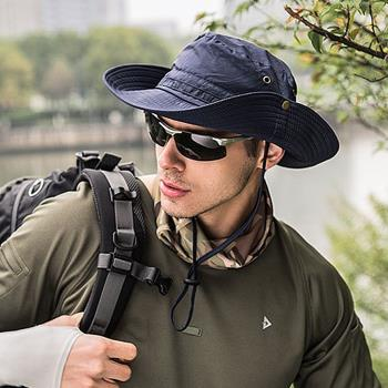 【KISSDIAMOND】戶外帥氣可折疊防曬抗UV遮陽帽漁夫帽(休閒/防紫外線/率性/防風繩/KDH-9070)