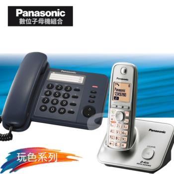 Panasonic 松下國際牌數位子母機電話組合 KX-TS520+KX-TG3711 (經典藍+時尚銀)