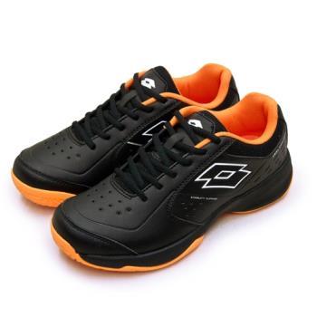【LOTTO】全地形入門級網球鞋 SPACE 600系列 附贈橘色鞋帶 黑橘 2230 男