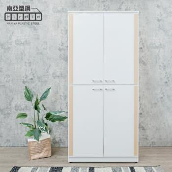 Birdie南亞塑鋼-3尺直飾造型四開門防水塑鋼高鞋櫃(白色+白橡色)