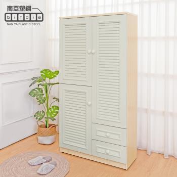 Birdie南亞塑鋼-3尺三門二抽防水塑鋼百葉高鞋櫃(白橡色+白色)