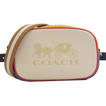 COACH 4162 大馬車LOGO撞色牛皮雙背帶三用腰包.白