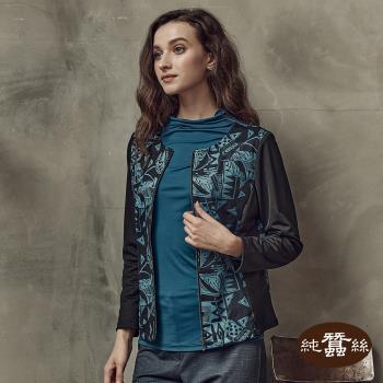 【岱妮蠶絲】意境透視拼接設計蠶絲外套(PWK2CD01)
